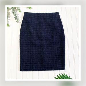 Ann Taylor Navy Blue and Black Boucle Pencil Skirt
